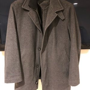 Boss cashmere wool zip and button coat